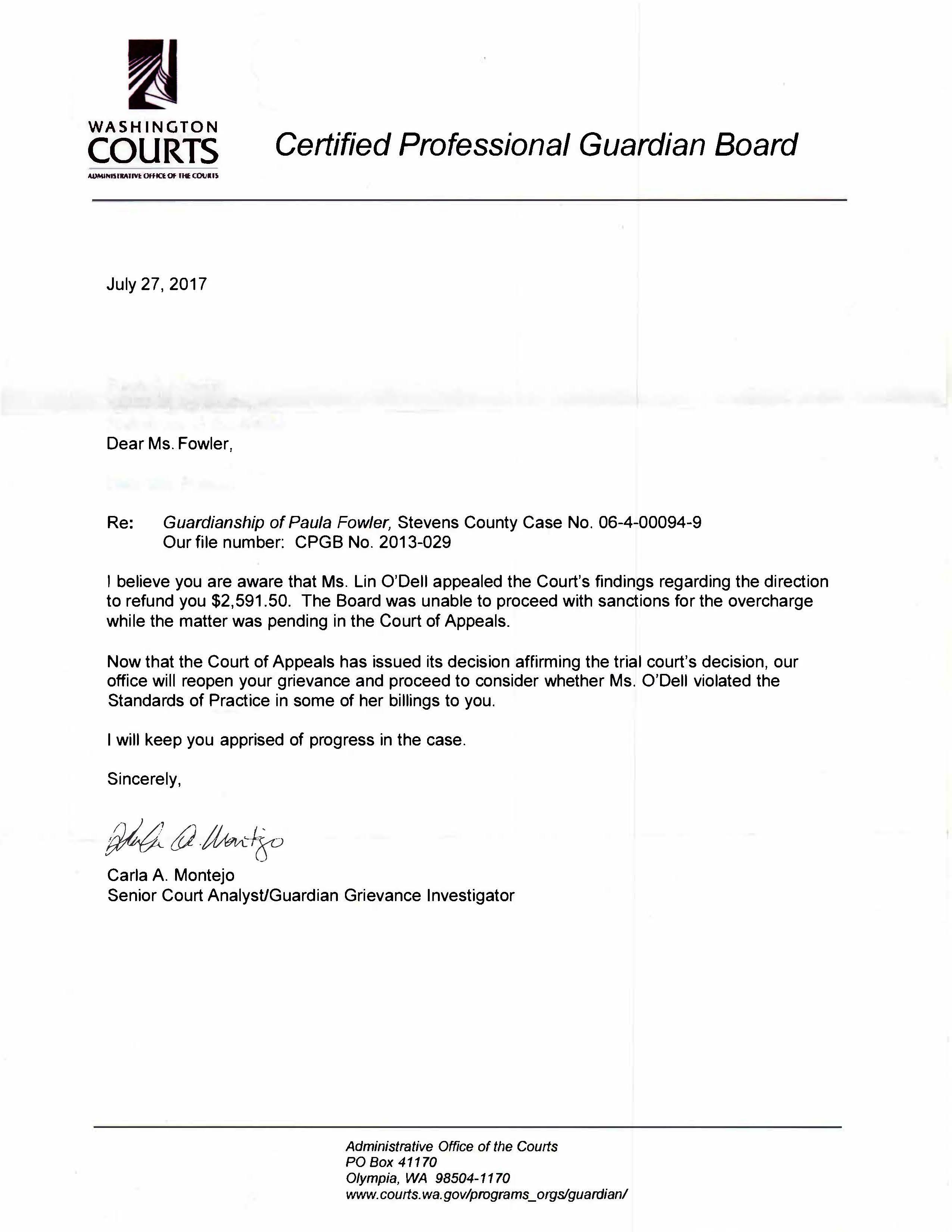 Guardianship Letter accepting complaints billing 2