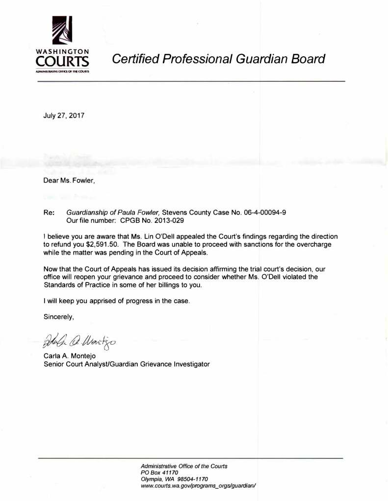 Guardianship Letter accepting complaints billing 2